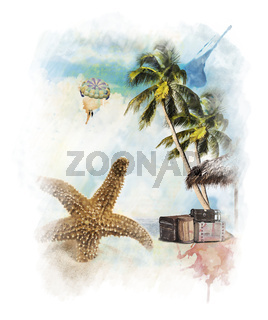 Watercolor Painting Of Vacation Theme
