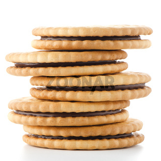 Sandwich biscuits with chocolate filling