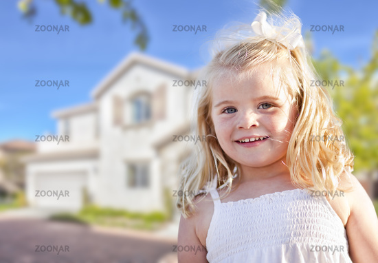 Cute Smiling Girl Playing in Front Yard