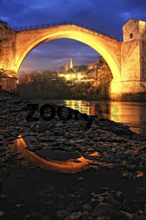 Stari Most at night, Mostar, Bosnia and Hercegovina