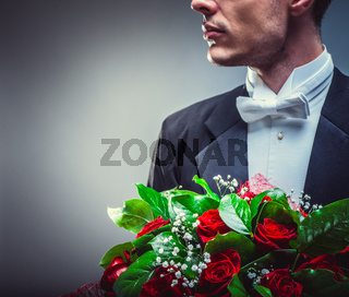 Man with a bouquet