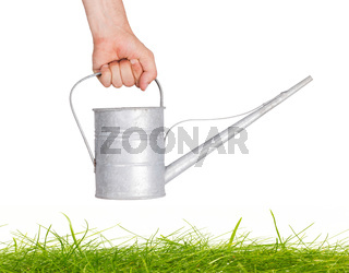 Aged metallic watering can isolated