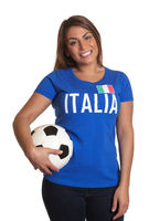 Standing italian girl with football