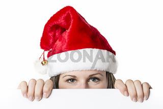 Santa Woman behind board