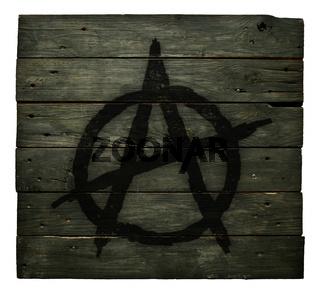 anarchie-symbol auf bretterwand