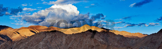 Panorama of Himalayas mountains on sunset. Ladakh