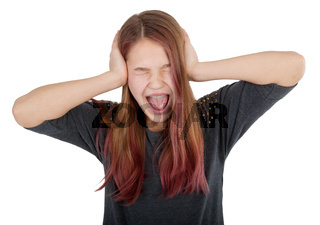 girl closing ears with hands and screaming
