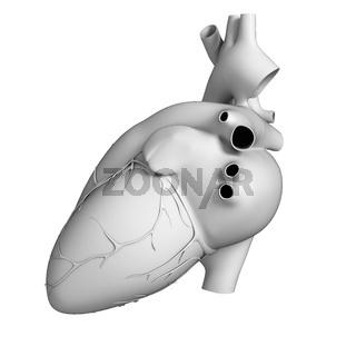3d rendered illustration - white heart