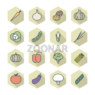 Thin Line Icons For Vegetables