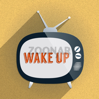 Retro TV and the Phrase 'Wake Up' on the Screen