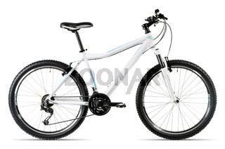 weißes Mountainbike vor weißem Hintergrund