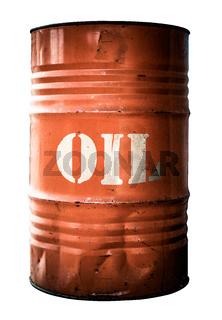 Isolated Industrial Orange Oil Barrel