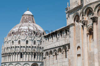 The Pisa Baptistry on Square of Miracles, Tuscany, Italy. A UNESCO World Heritage Site.