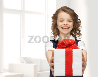 happy smiling girl with gift box