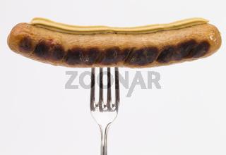 Bratwurst und Gabel