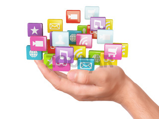 hand with application software icons. social media concept