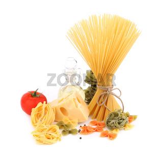 Different pasta, oil, tomato, cheese