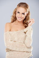 Attractive Smiling Woman in Off Shoulder Outfit