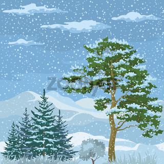 Seamless, Mountain Winter Landscape