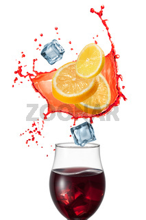 Sangria drink with ingridients isolated on white background