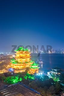 night scene of the tengwang pavilion in nanchang