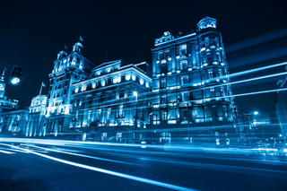 classical buildings at night in shanghai