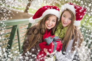Two Smiling Women Santa Hats Holding a Wrapped Gift