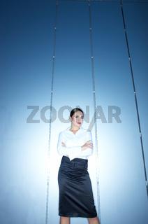 Attractive Office Woman in Black and White Attire