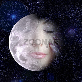 The moon turns into a face of the beautiful woman in the night sky.