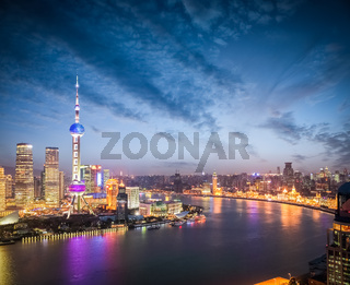 the beautiful scenery in shanghai in nightfall