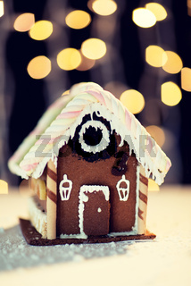 closeup of beautiful gingerbread house at home