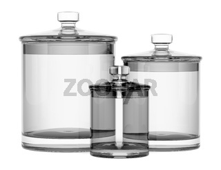 three empty glass jars isolated on white background