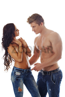 Sexy topless models advertise denim jeans