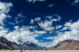 Sky above Nubra valley in Himalayas. Ladakh