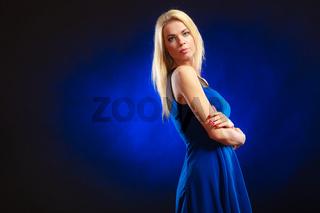 Portrait lovely girl long blond hair