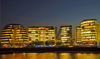 London - Commercial Offices on the South Bank at sunset