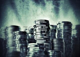 Euromünzen im Grunge Stil