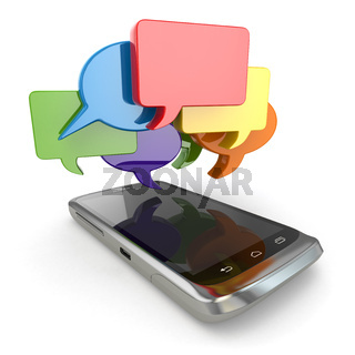 Mobile phone and ocial media speech bubbles.