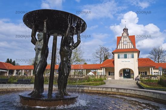 Brunnen vor Bahnhof in Bad Saarow, Brandenburg, Germany