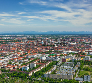 Aerial view of Munich from Olympiaturm (Olympic Tower). Munich