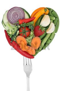 Gemüse als Liebe Herz auf Gabel