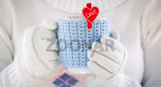 Knitted wool cup valentines day