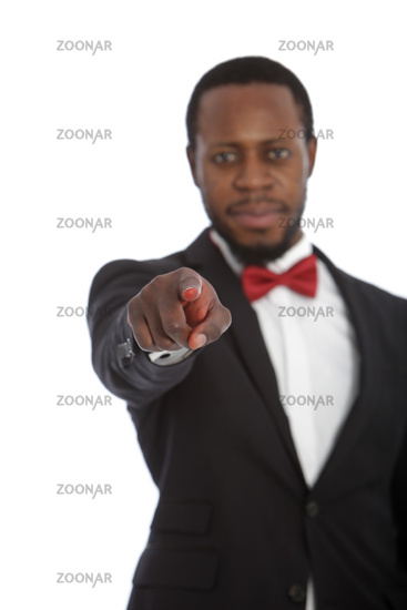 African man pointing at the camera