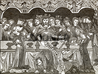 Baronial banquet table in the 12th century