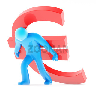 Blue human figure carring red euro sign
