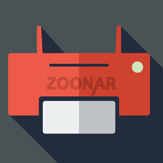 Modern flat design concept icon printer. Vector illustration.