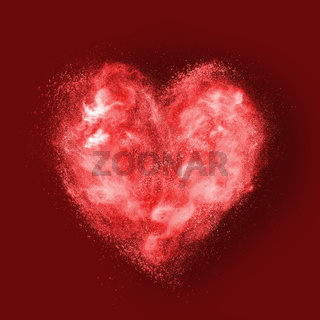 heart made of powder explosion on red