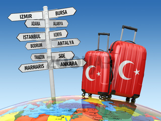 Travel concept. Suitcases and signpost what to visit in Turkey.