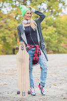 Pretty Cool Woman with Skateboard
