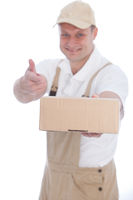 Workman pointing to a cardboard box